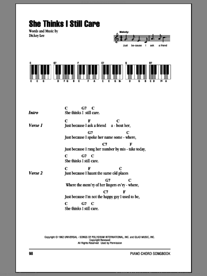 She Thinks I Still Care sheet music for piano solo (chords, lyrics, melody) by Dickey Lee