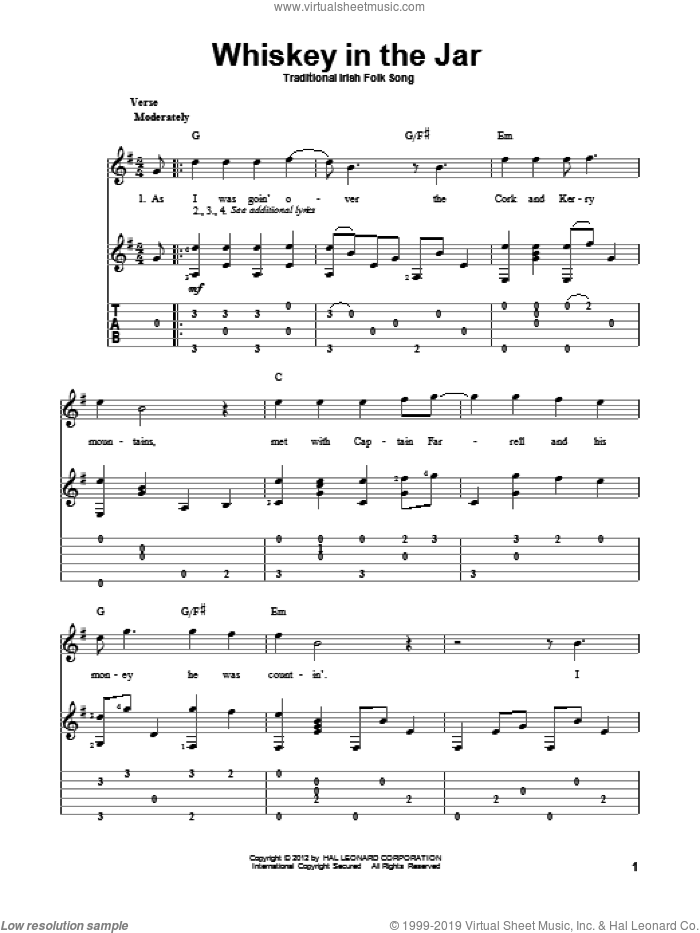 Whiskey In The Jar sheet music for guitar solo