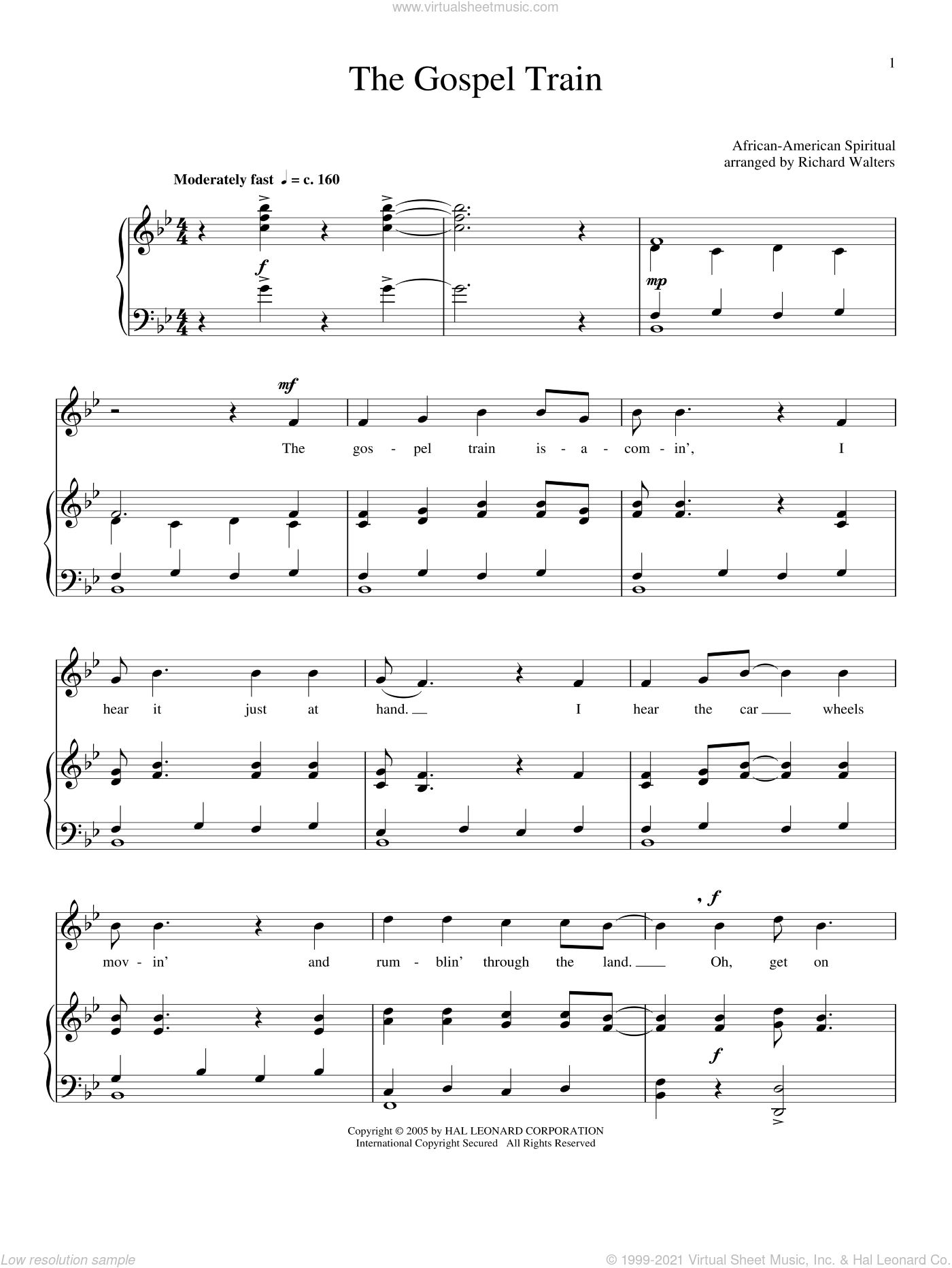 The Gospel Train sheet music for voice and piano, intermediate skill level