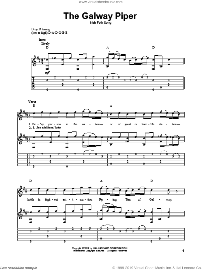 The Galway Piper sheet music for guitar solo. Score Image Preview.