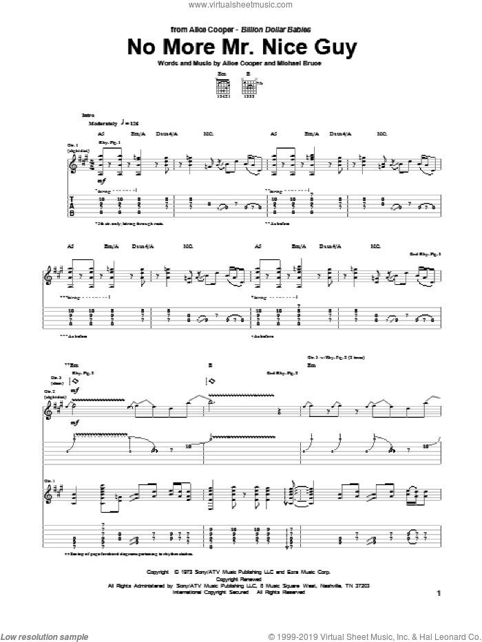 No More Mr. Nice Guy sheet music for guitar (tablature) by Alice Cooper, intermediate guitar (tablature). Score Image Preview.