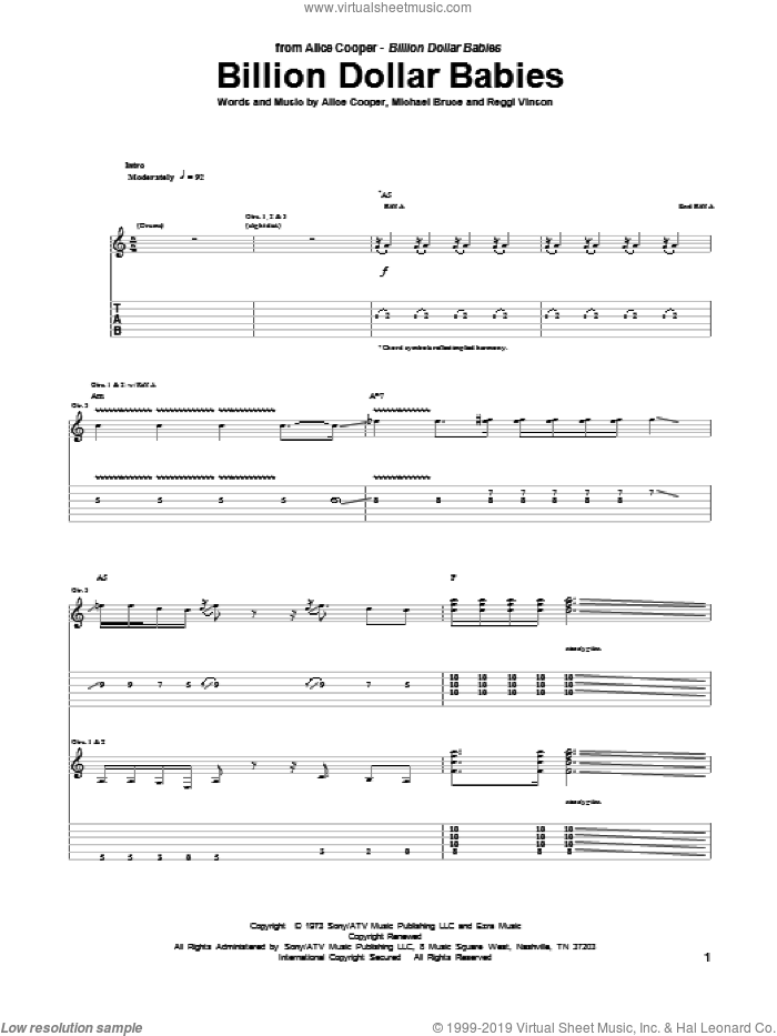 Billion Dollar Babies sheet music for guitar (tablature) by Alice Cooper, intermediate guitar (tablature). Score Image Preview.
