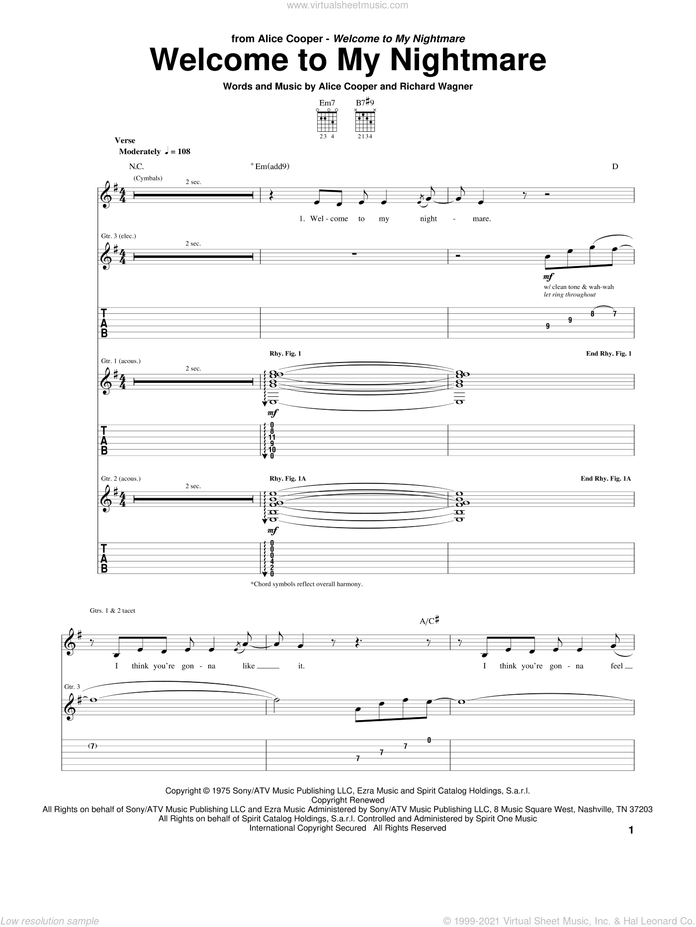Welcome To My Nightmare sheet music for guitar (tablature) by Alice Cooper and Richard Wagner, intermediate. Score Image Preview.