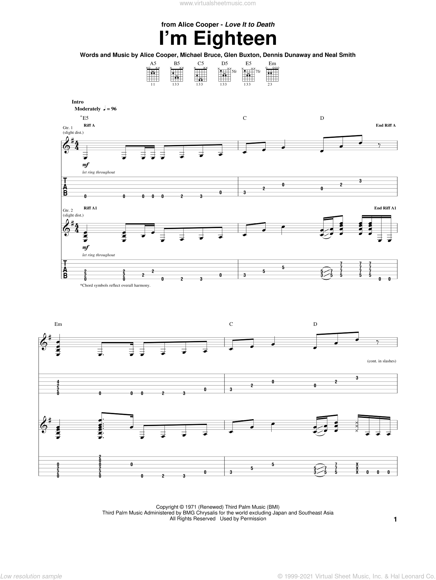 I'm Eighteen sheet music for guitar (tablature) by Alice Cooper, Dennis Dunaway, Glen Buxton, Michael Bruce and Neal Smith, intermediate skill level