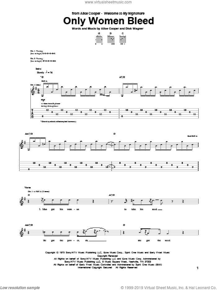 Only Women Bleed sheet music for guitar (tablature) by Alice Cooper, intermediate. Score Image Preview.