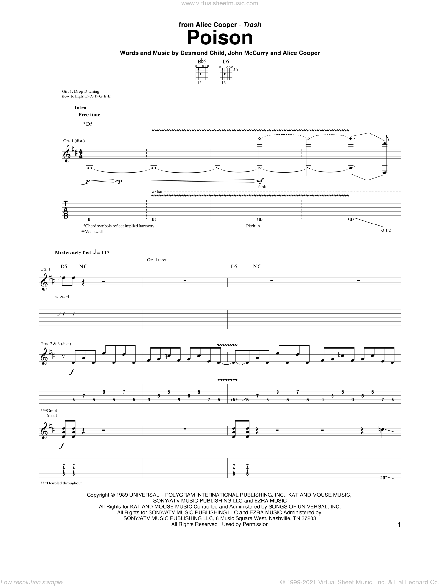 Poison sheet music for guitar (tablature) by Alice Cooper, Desmond Child and John McCurry, intermediate skill level