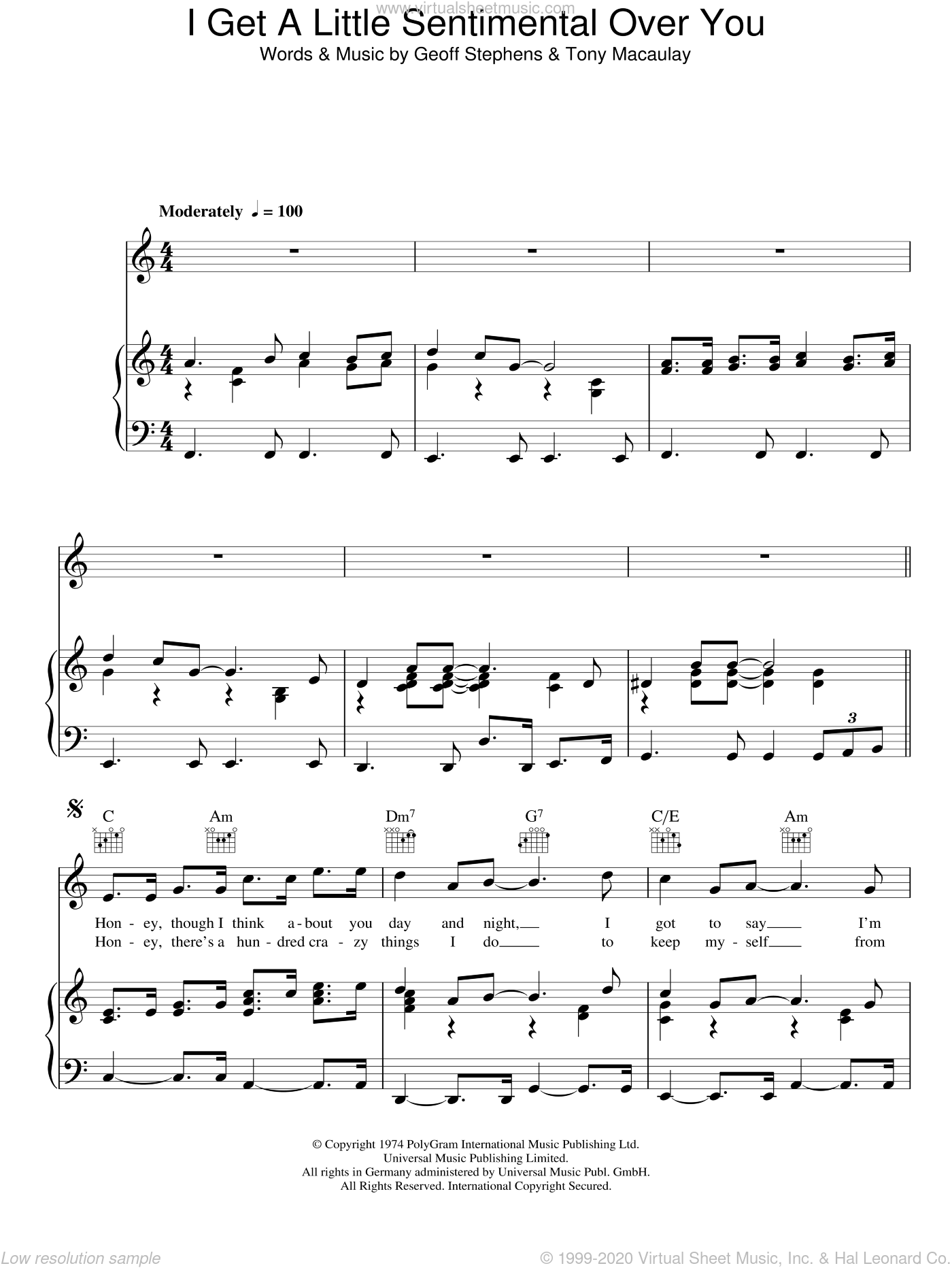 I Get A Little Sentimental Over You sheet music for voice, piano or guitar by The New Seekers, Geoff Stephens and Tony Macaulay, intermediate skill level