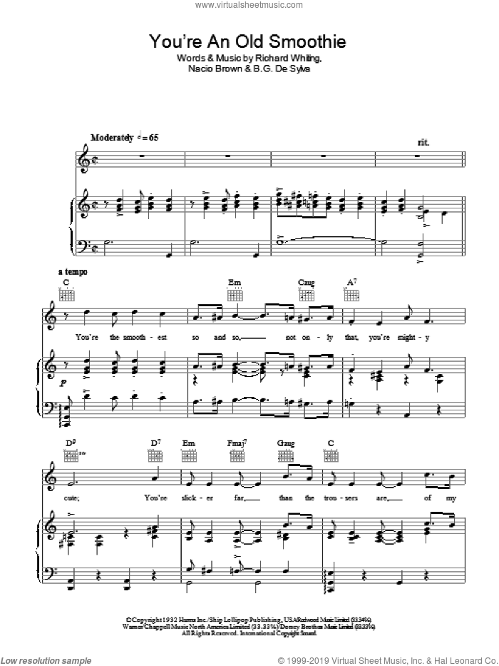 You're An Old Smoothie sheet music for voice, piano or guitar by Ethel Merman, B.G. De Sylva, Nacio Herb Brown and Richard A. Whiting, intermediate skill level