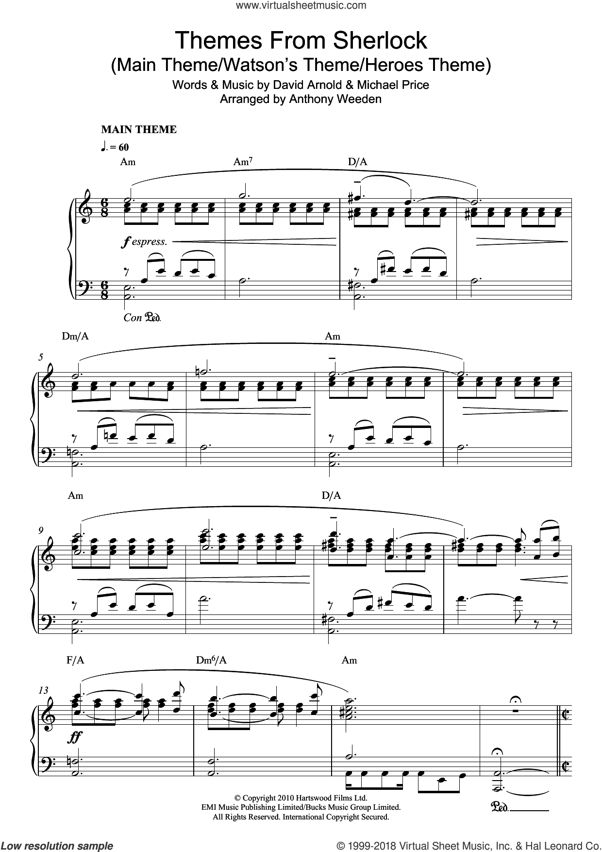 Themes From Sherlock (Main Theme/Watson's Theme/Heroes Theme) sheet music for piano solo by David Arnold and Michael Price, intermediate skill level
