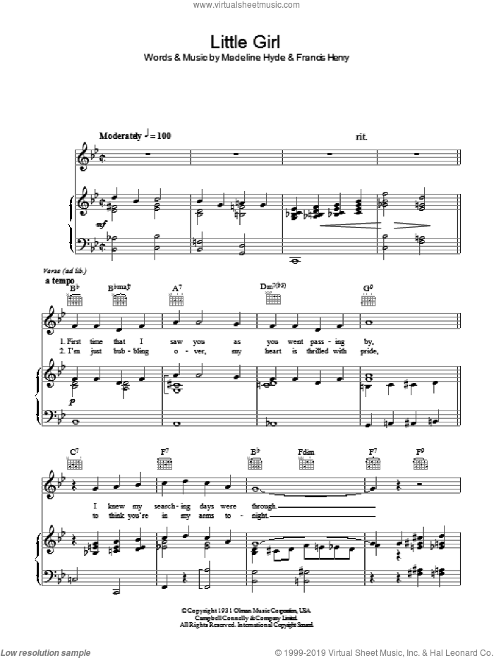 Little Girl sheet music for voice, piano or guitar by Francis Henry and Madeline Hyde