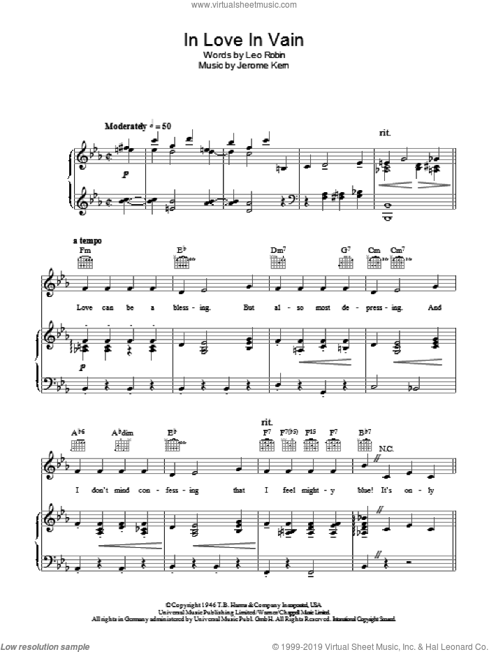 In Love In Vain sheet music for voice, piano or guitar by Leo Robin, Bobby Darin and Jerome Kern. Score Image Preview.