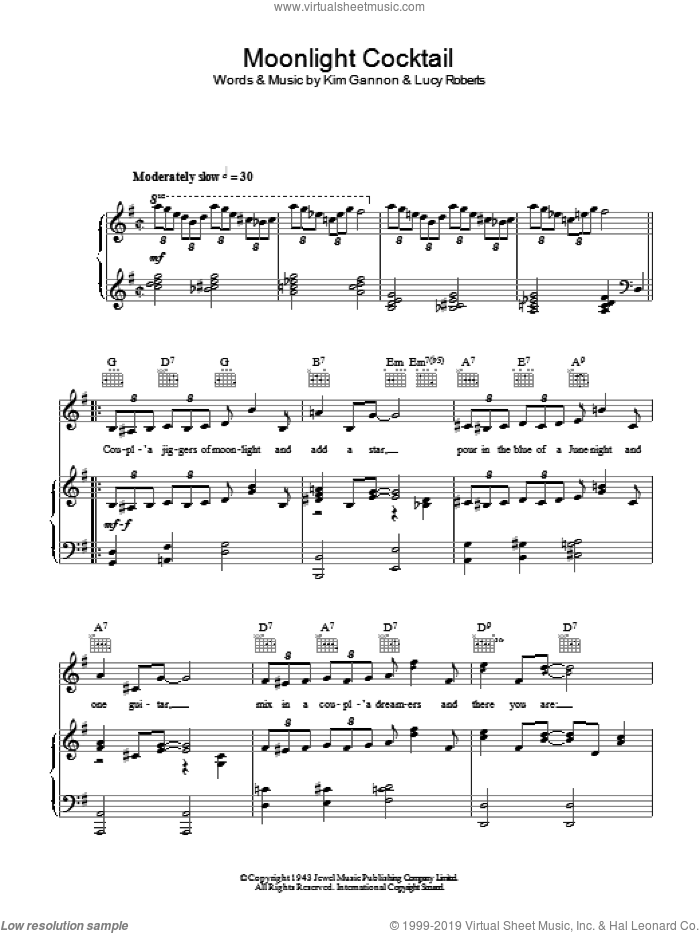 Moonlight Cocktail sheet music for voice, piano or guitar by Glenn Miller, Kim Gannon and Lucy Roberts, intermediate. Score Image Preview.