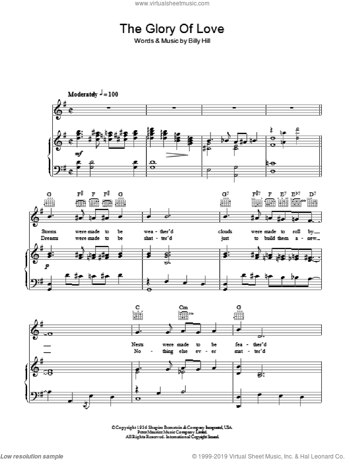 The Glory Of Love sheet music for voice, piano or guitar by Billy Hill, Bette Midler and Otis Redding. Score Image Preview.