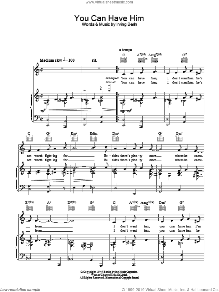 You Can Have Him sheet music for voice, piano or guitar by Irving Berlin. Score Image Preview.