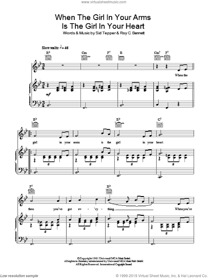 When The Girl In Your Arms Is The Girl In Your Heart sheet music for voice, piano or guitar by Cliff Richard, Roy Bennett and Sid Tepper, intermediate skill level