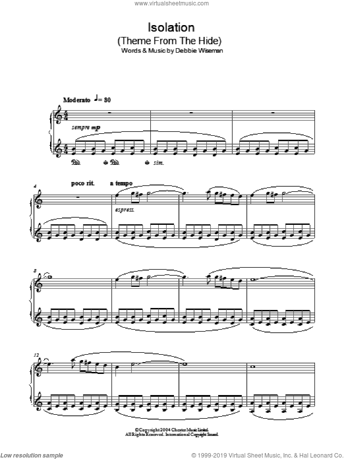 Isolation (Theme From The Hide) sheet music for piano solo by Debbie Wiseman, intermediate skill level