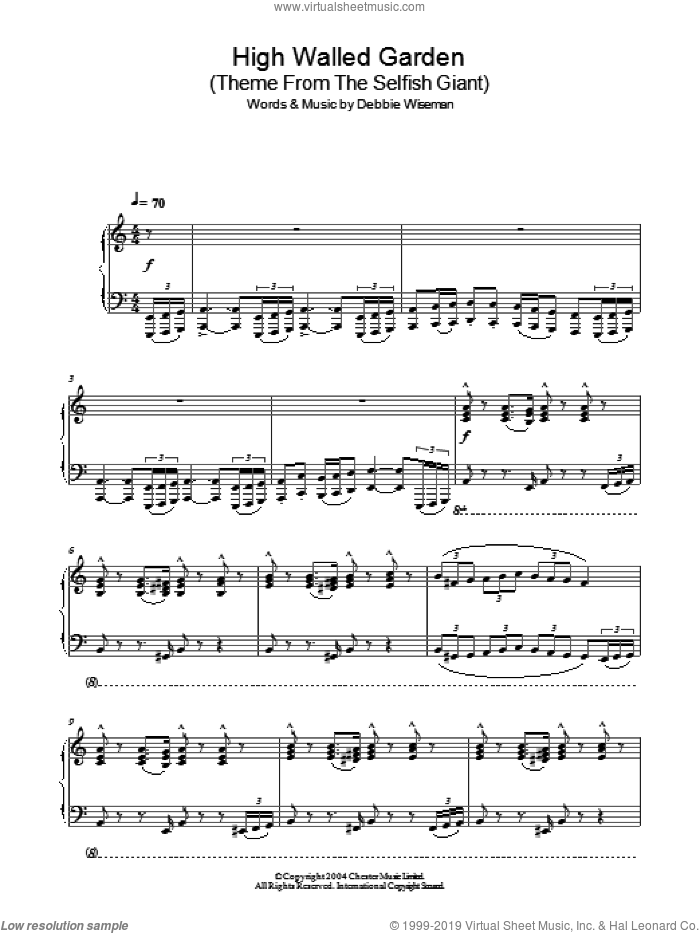 High Walled Garden (Theme From The Selfish Giant) sheet music for piano solo by Debbie Wiseman. Score Image Preview.