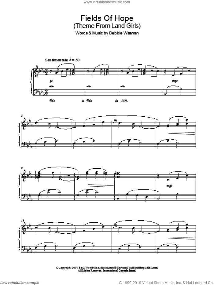Fields Of Hope (Theme From Land Girls) sheet music for piano solo by Debbie Wiseman, intermediate skill level