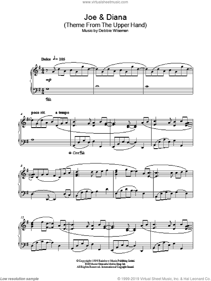 Joe and Diana (Theme From The Upper Hand) sheet music for piano solo by Debbie Wiseman, intermediate