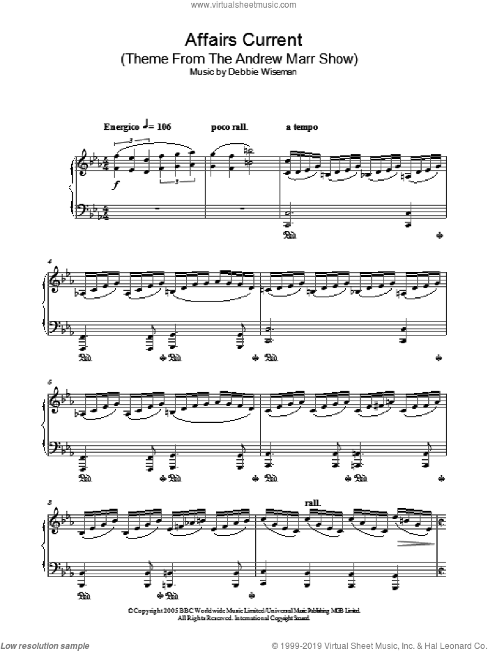 Affairs Current (Theme From The Andrew Marr Show) sheet music for piano solo by Debbie Wiseman, intermediate piano. Score Image Preview.