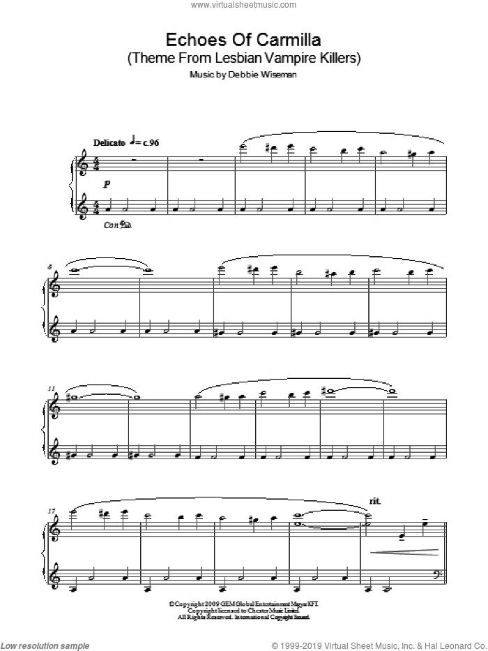 Echoes Of Carmilla (Theme From Lesbian Vampire Killers) sheet music for piano solo by Debbie Wiseman. Score Image Preview.