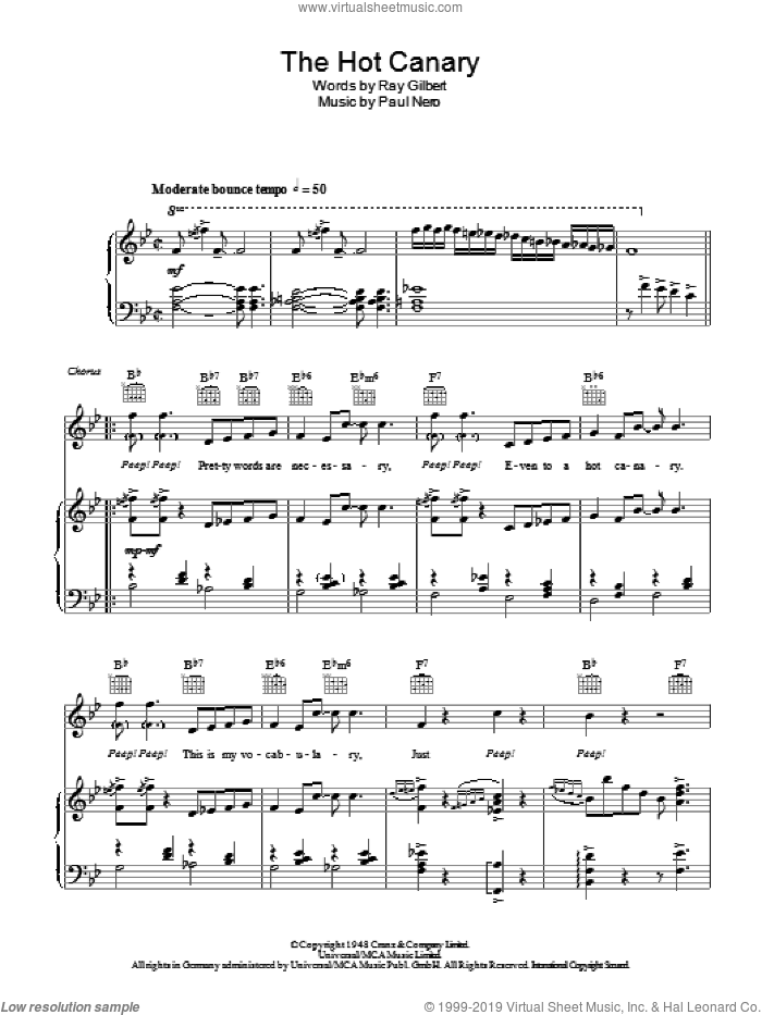 The Hot Canary sheet music for voice, piano or guitar by Ray Gilbert