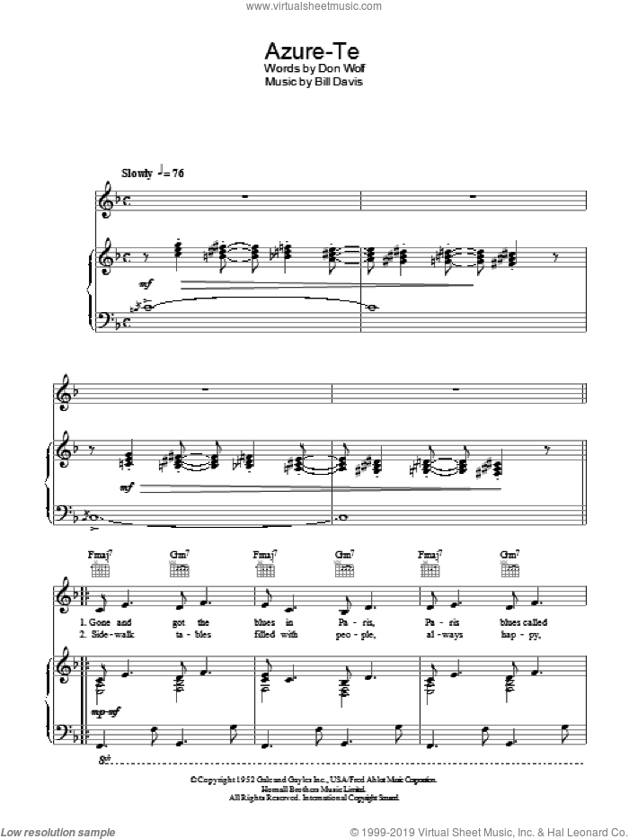 Azure-Te sheet music for voice, piano or guitar by Don Wolf