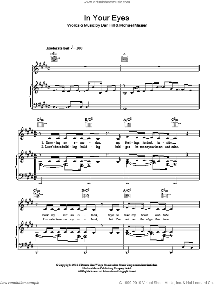 In Your Eyes sheet music for voice, piano or guitar by Niamh Kavanagh, Dan Hill and Michael Masser, intermediate skill level