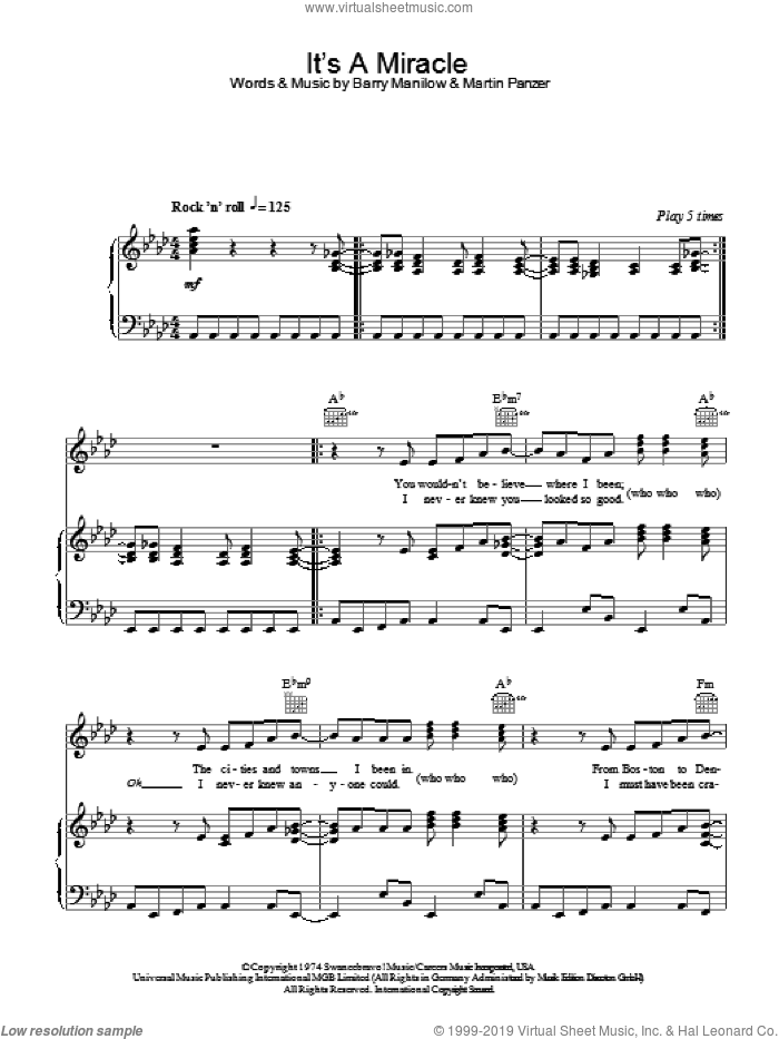 It's A Miracle sheet music for voice, piano or guitar by Barry Manilow and Marty Panzer, intermediate. Score Image Preview.