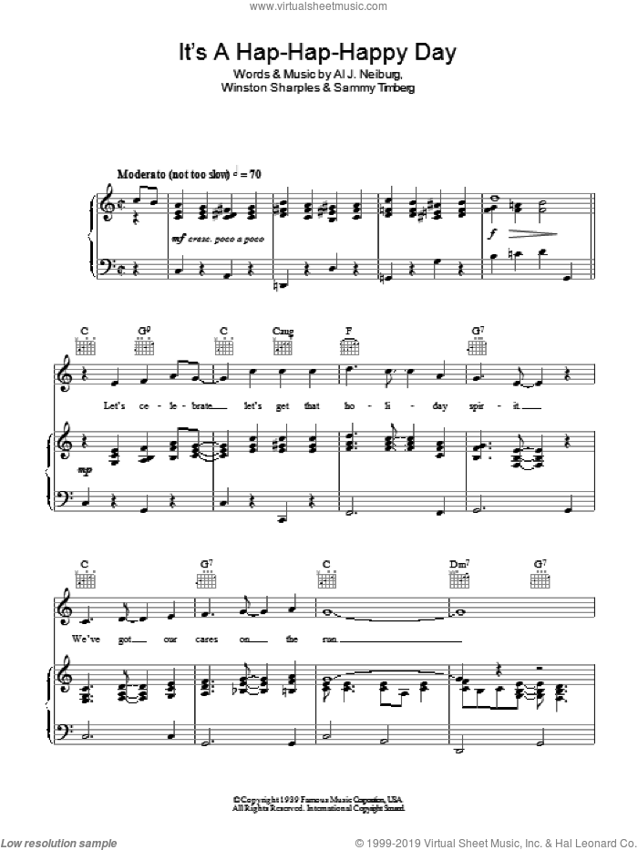 It's A Hap-Hap-Happy Day sheet music for voice, piano or guitar by Al J. Neiburg and Winston Sharples, intermediate voice, piano or guitar. Score Image Preview.