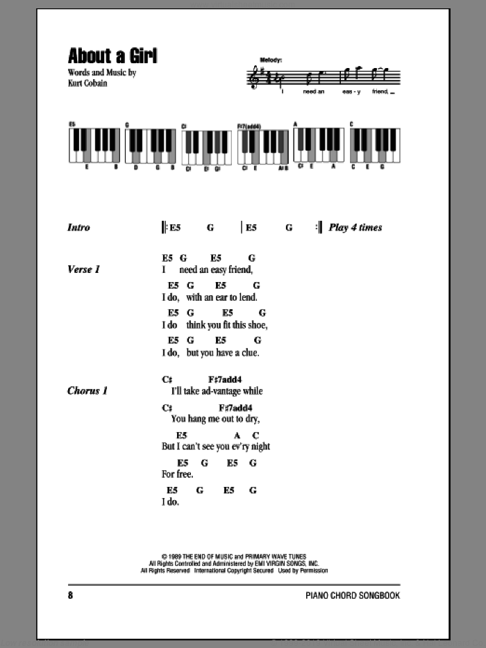 About A Girl sheet music for piano solo (chords, lyrics, melody) by Kurt Cobain and Nirvana. Score Image Preview.