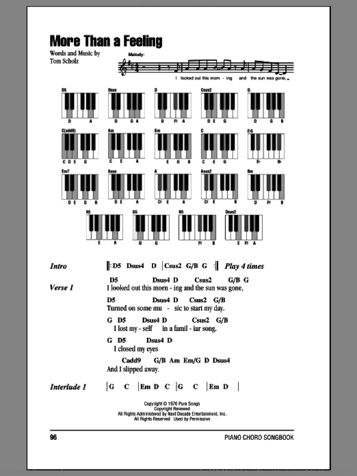 More Than A Feeling sheet music for piano solo (chords, lyrics, melody) by Boston, intermediate piano (chords, lyrics, melody). Score Image Preview.