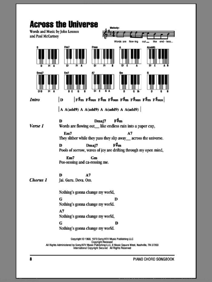 Across The Universe sheet music for piano solo (chords, lyrics, melody) by The Beatles, John Lennon and Paul McCartney, intermediate piano (chords, lyrics, melody)