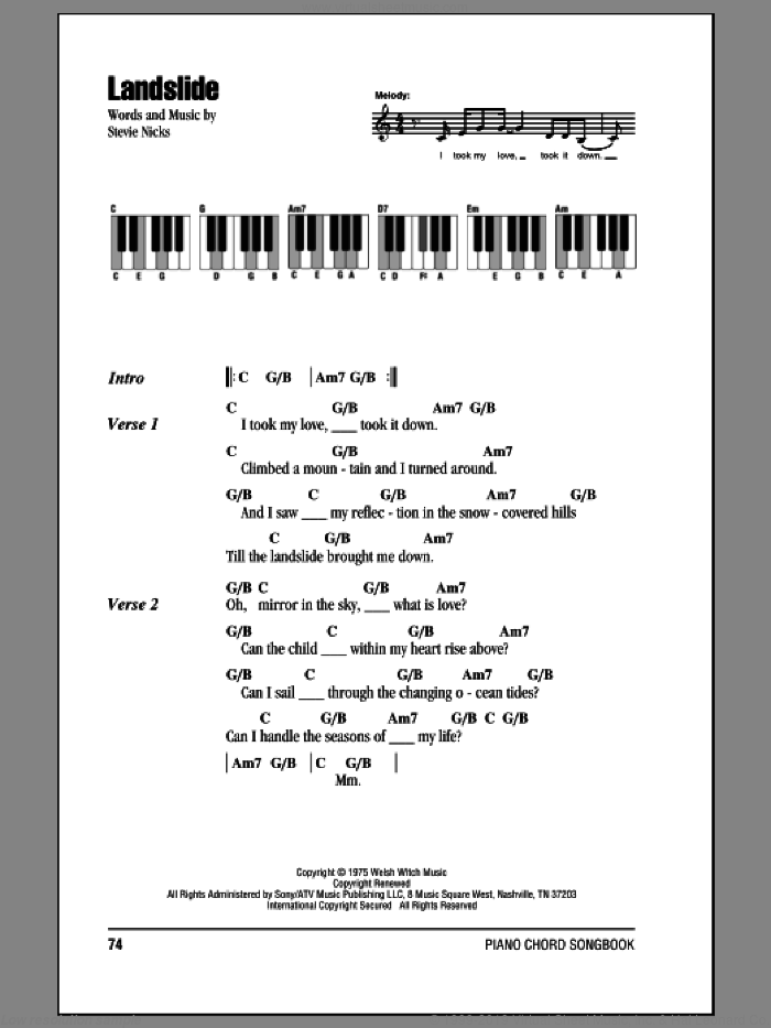 Landslide sheet music for piano solo (chords, lyrics, melody) by Fleetwood Mac and Stevie Nicks, intermediate piano (chords, lyrics, melody)