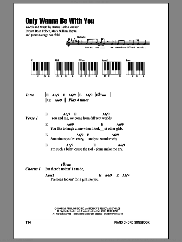 Only Wanna Be With You sheet music for piano solo (chords, lyrics, melody) by Hootie & The Blowfish, Darius Carlos Rucker, Everett Dean Felber, James George Sonefeld and Mark William Bryan, intermediate piano (chords, lyrics, melody)