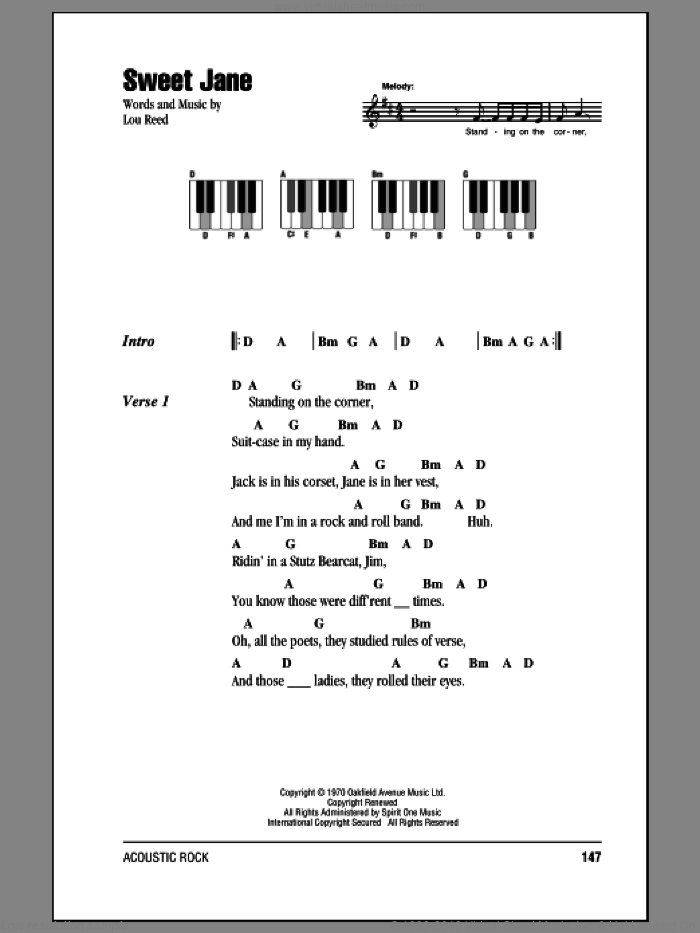 Sweet Jane (Intro) sheet music for piano solo (chords, lyrics, melody) by Lou Reed. Score Image Preview.