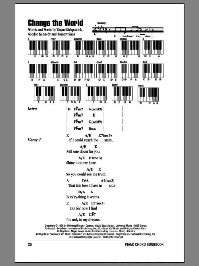 Change The World sheet music for piano solo (chords, lyrics, melody) by Eric Clapton, Gordon Kennedy, Tommy Sims and Wayne Kirkpatrick, intermediate piano (chords, lyrics, melody)