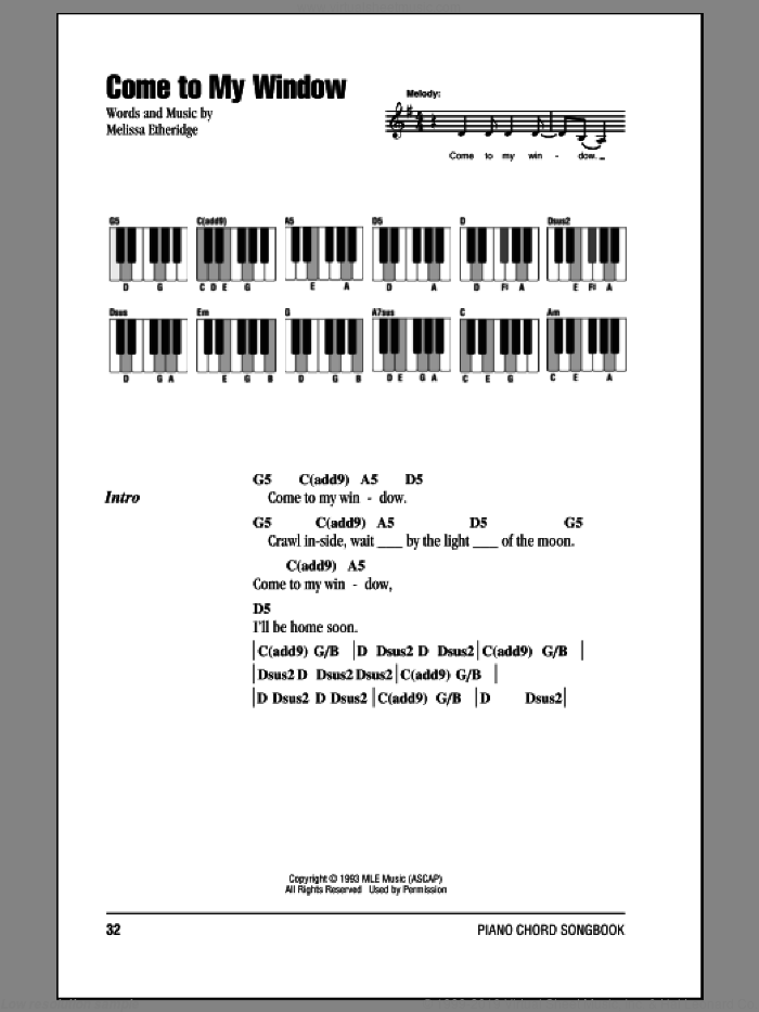 Come To My Window sheet music for piano solo (chords, lyrics, melody) by Melissa Etheridge. Score Image Preview.