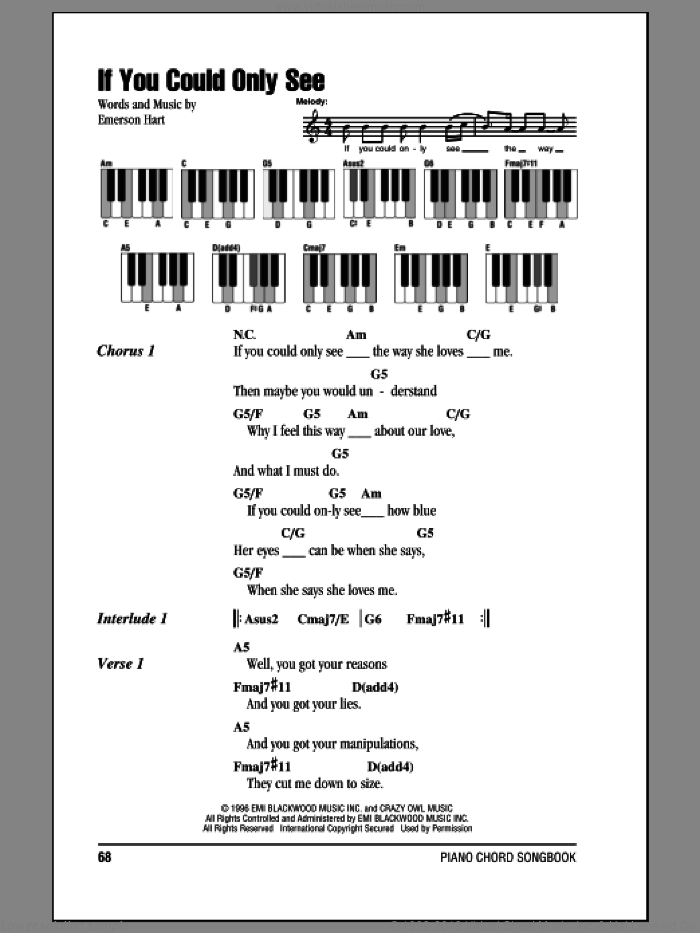 If You Could Only See sheet music for piano solo (chords, lyrics, melody) by Emerson Hart. Score Image Preview.
