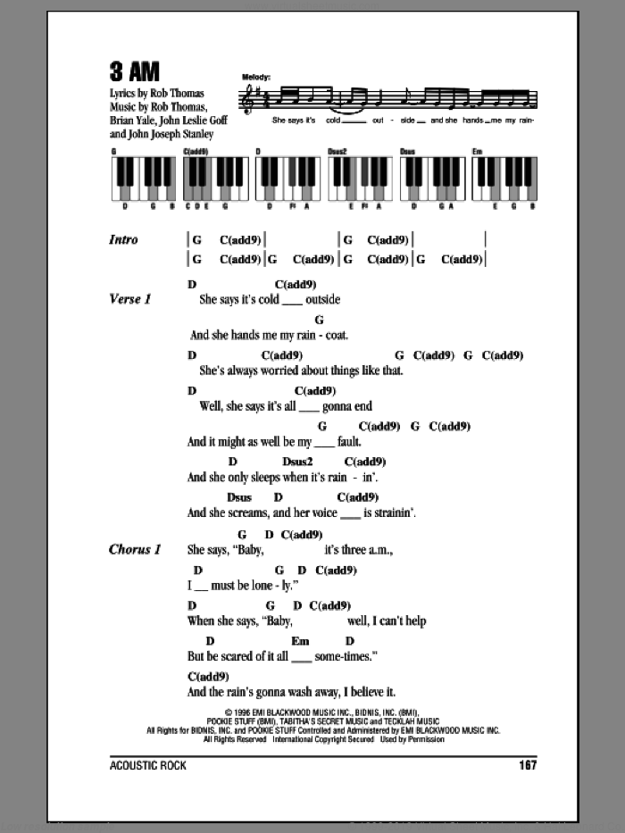3 AM sheet music for piano solo (chords, lyrics, melody) by Rob Thomas