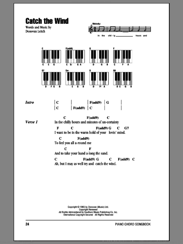 Catch The Wind sheet music for piano solo (chords, lyrics, melody) by Donovan Leitch and Walter Donovan. Score Image Preview.