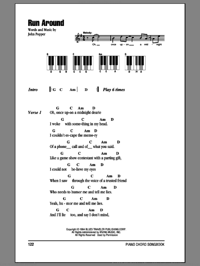 Run Around sheet music for piano solo (chords, lyrics, melody) by John Popper and Blues Traveler. Score Image Preview.