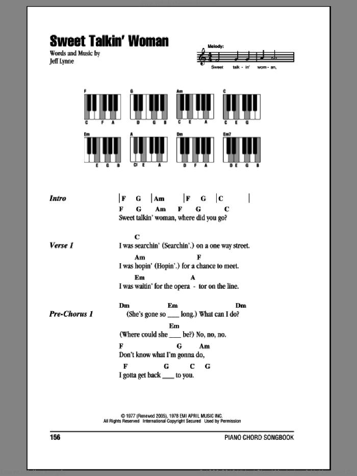 Sweet Talkin' Woman sheet music for piano solo (chords, lyrics, melody) by Electric Light Orchestra and Jeff Lynne, intermediate piano (chords, lyrics, melody)