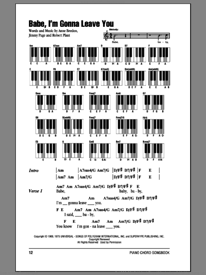 Babe, I'm Gonna Leave You sheet music for piano solo (chords, lyrics, melody) by Led Zeppelin, Anne Bredon, Jimmy Page and Robert Plant, intermediate piano (chords, lyrics, melody)