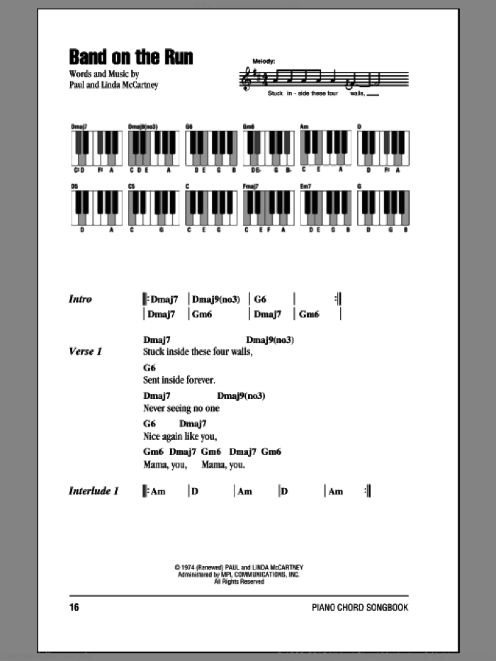 Band On The Run sheet music for piano solo (chords, lyrics, melody) by Paul McCartney, Paul McCartney and Wings and Linda McCartney, intermediate piano (chords, lyrics, melody)