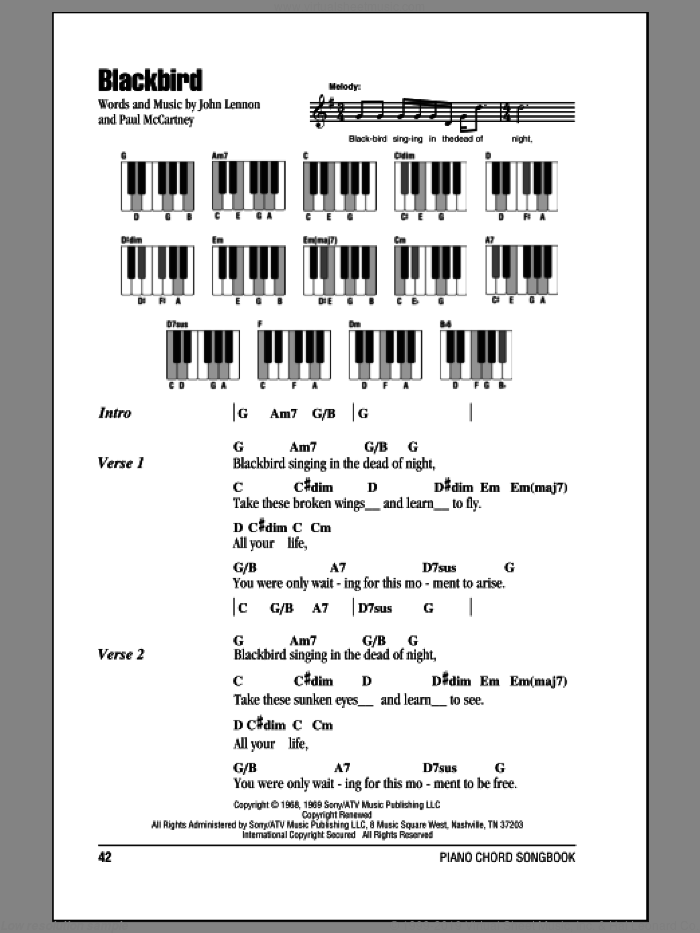 Blackbird sheet music for piano solo (chords, lyrics, melody) by Paul McCartney, The Beatles and John Lennon. Score Image Preview.