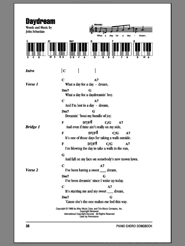 Daydream sheet music for piano solo (chords, lyrics, melody) by John Sebastian. Score Image Preview.