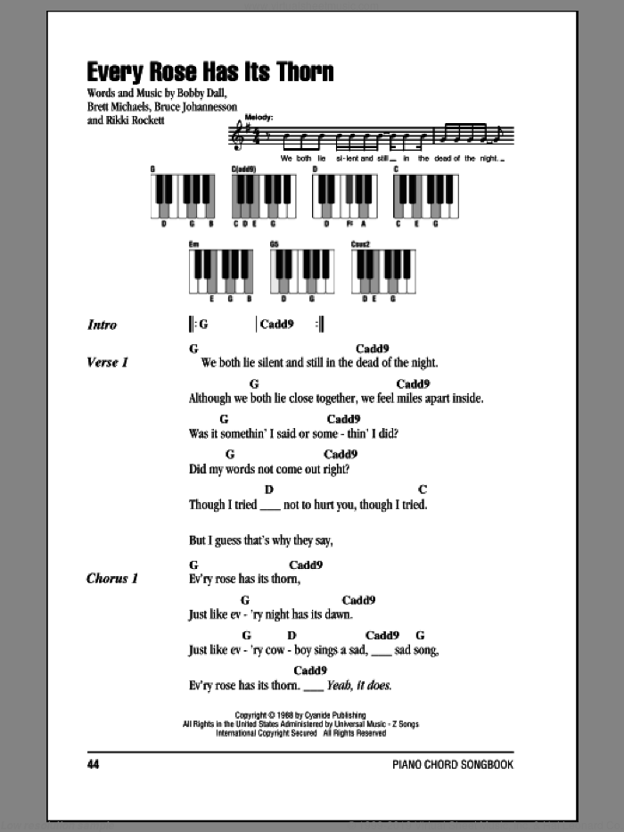 Every Rose Has Its Thorn sheet music for piano solo (chords, lyrics, melody) by Poison, Bobby Dall, Bret Michaels, C.C. Deville and Rikki Rockett, intermediate piano (chords, lyrics, melody)