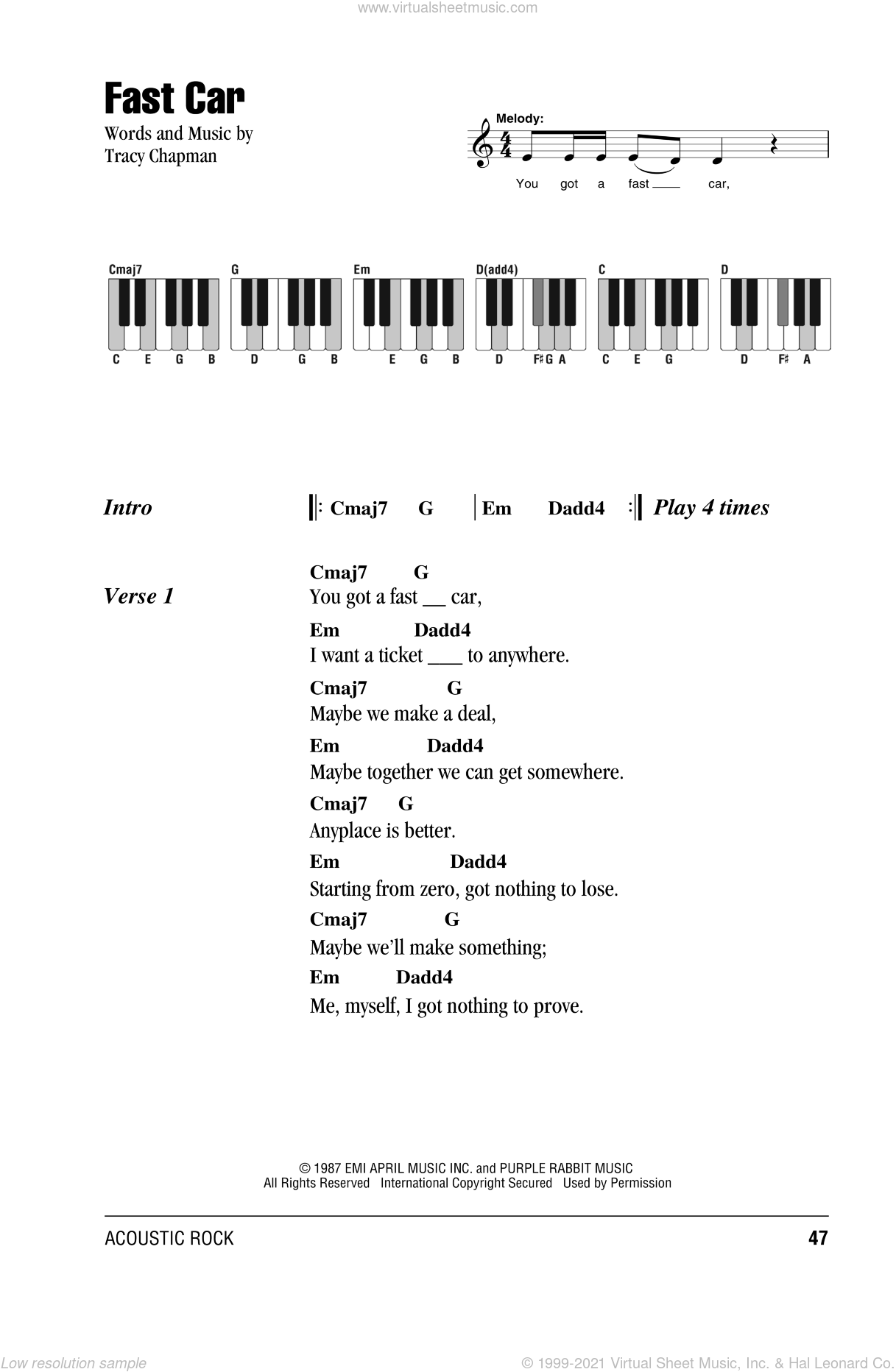 Fast Car sheet music for piano solo (chords, lyrics, melody) by Tracy Chapman, intermediate piano (chords, lyrics, melody). Score Image Preview.