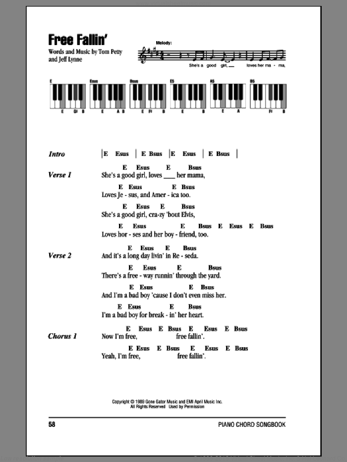 Free Fallin' sheet music for piano solo (chords, lyrics, melody) by Jeff Lynne and Tom Petty. Score Image Preview.